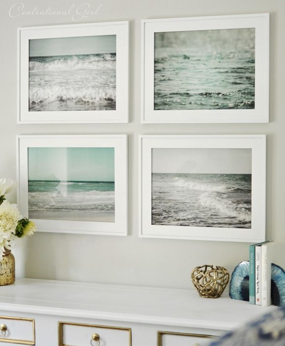 beach inspired picture wall