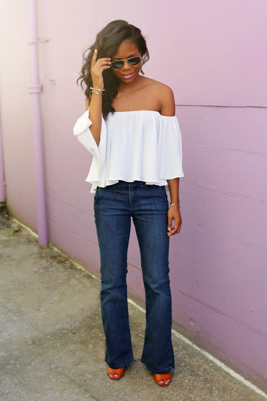 ily couture off the shoulder top